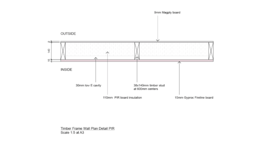 Magply timber frame wall PIR 2D plan